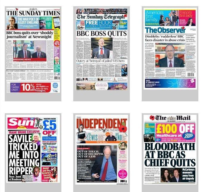 titulní strany britských nedělníků 11. listopadu 2012