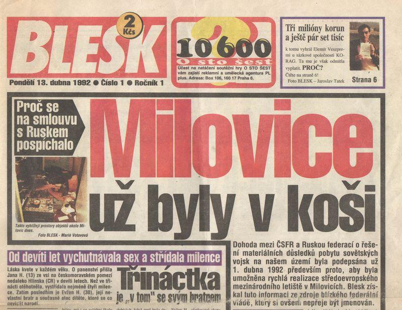 první číslo Blesku 13.4.1992