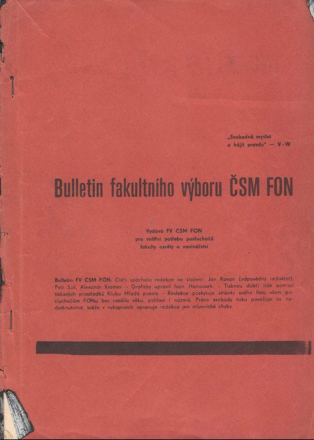 bulletin Fakulty osvěty a novinářství - jaro 1967, první a také poslední vydání, pokračování bulletinu vedení fakulty nepovolilo