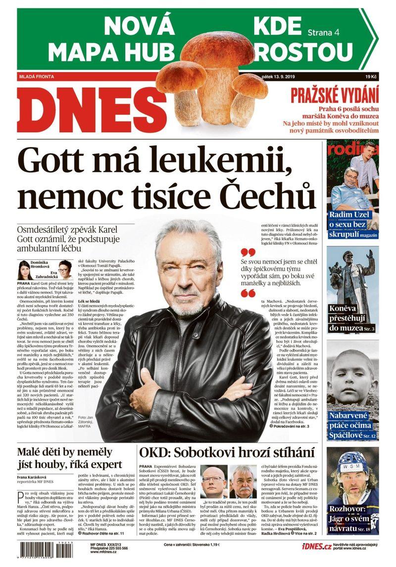 titulní strana MF Dnes 13.9.2019