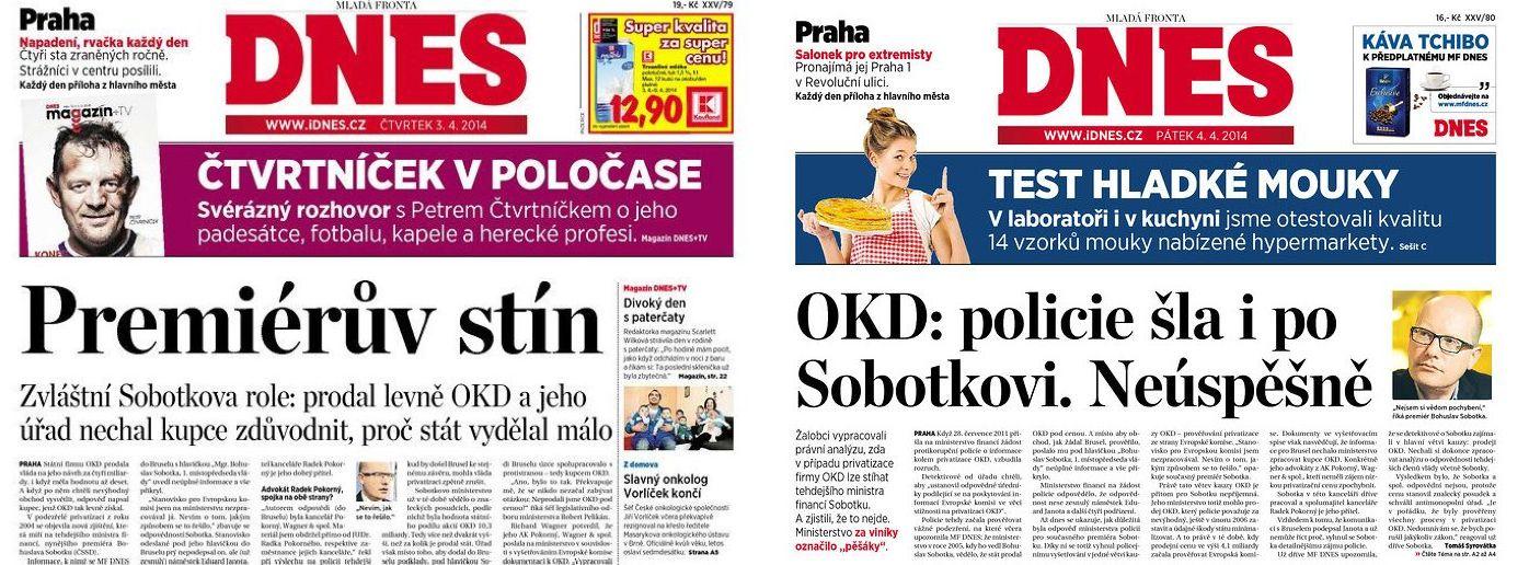 titulní strany MF Dnes 3. a 4. dubna 2014