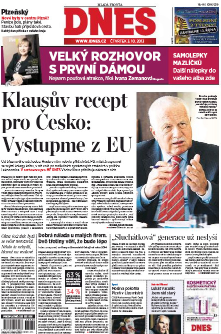 tituln í strana MF Dnes 3.10.2013