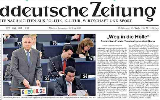 Sueddeutsche Zeitung 26.3.2009, klik pro větší obrazovku