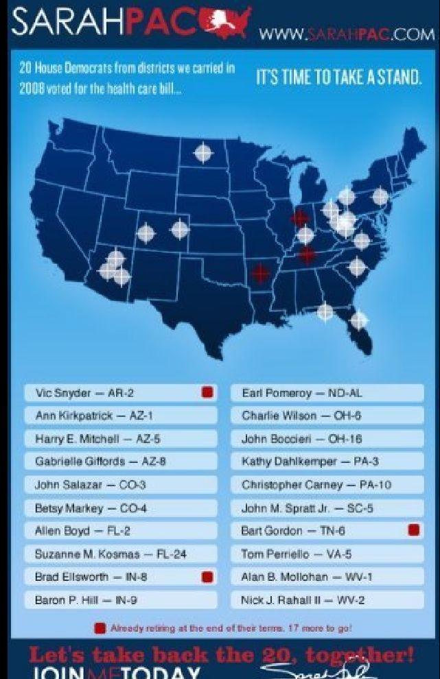 Seznam kongresmanů, které je třeba podle Sarah Palinové ve státech, kde mají převahu republikáni, odstranit