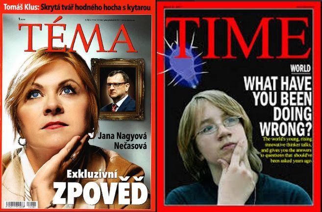 titulní strany týdeníků Téma a Time