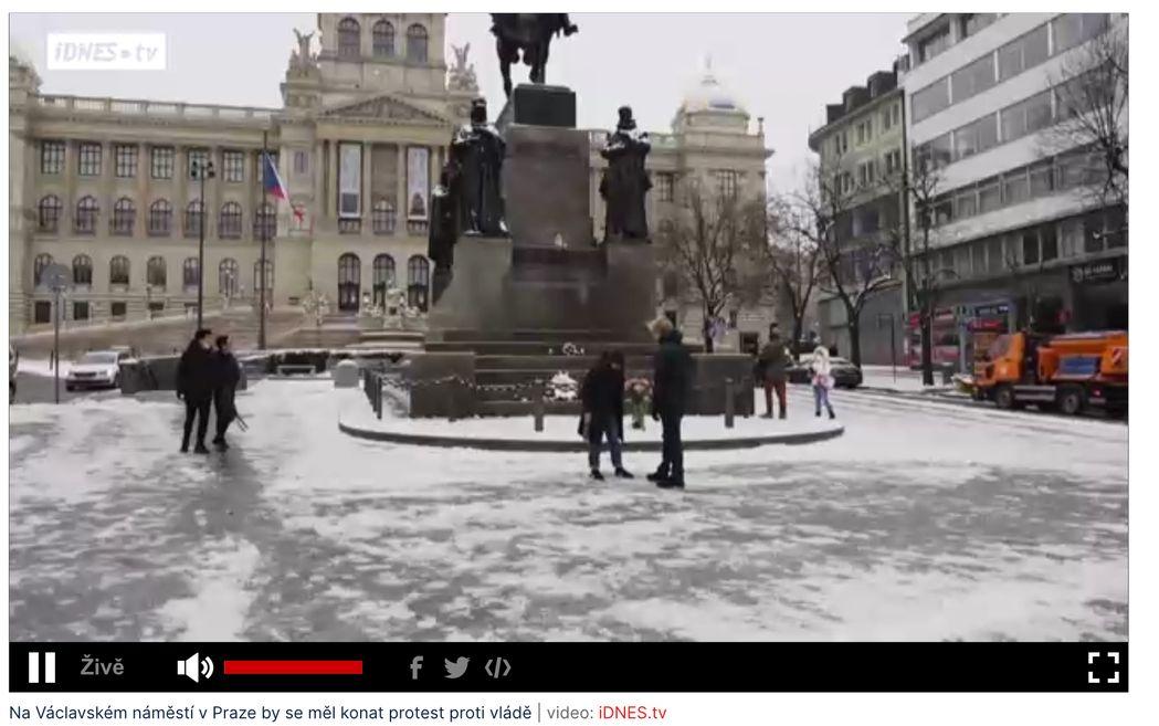 neuskutečněná demonstrace na Václavském náměstí 8.2.2021