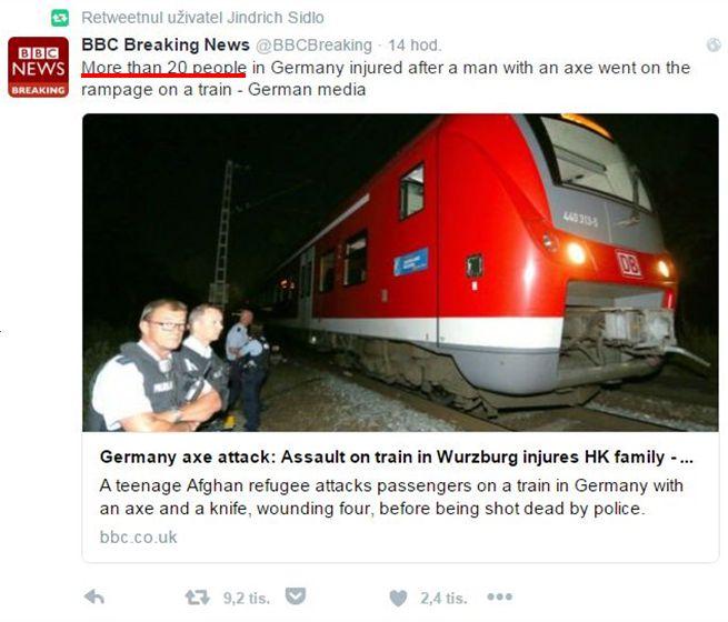 tweet BBC o Wurzburgu - skuteÄŤnĂ˝ poÄŤet obÄ›tĂ: 5