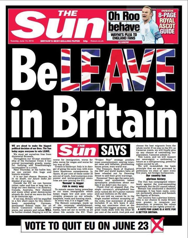 titulnĂ strana The Sun 14.6.2016