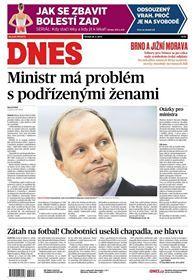 titulní strana MF Dnes 28.5.2015