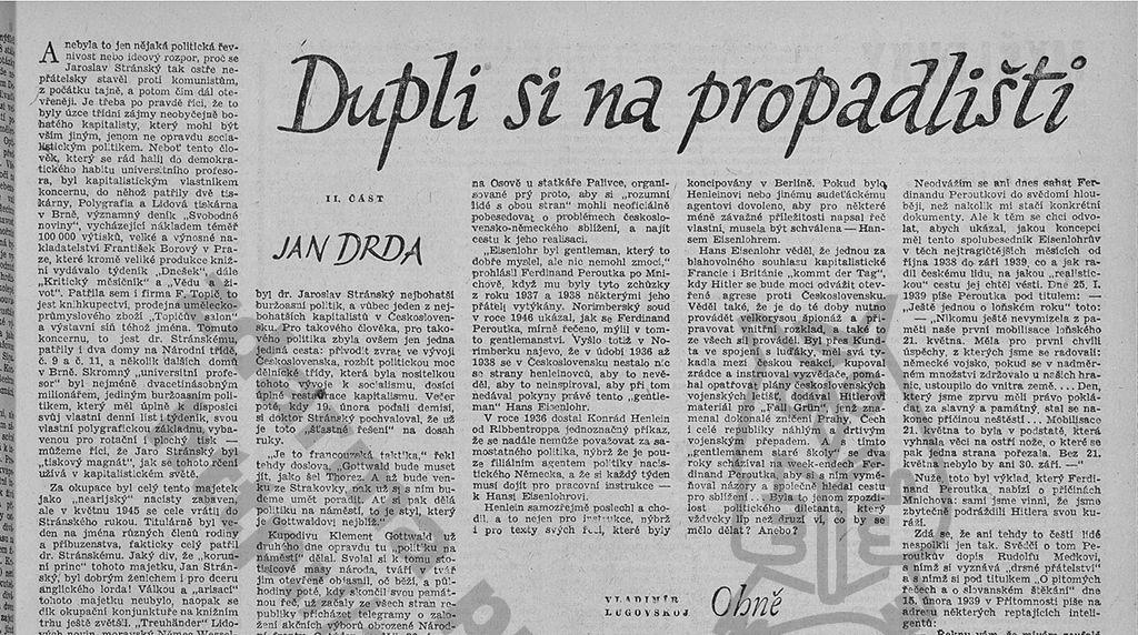 Jan Drda: Literární noviny 1958, Rudé právo 1968