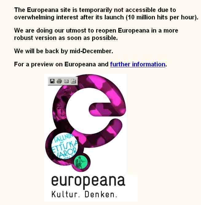 webová stránka www.europeana.eu, klik pro větší obrazovku