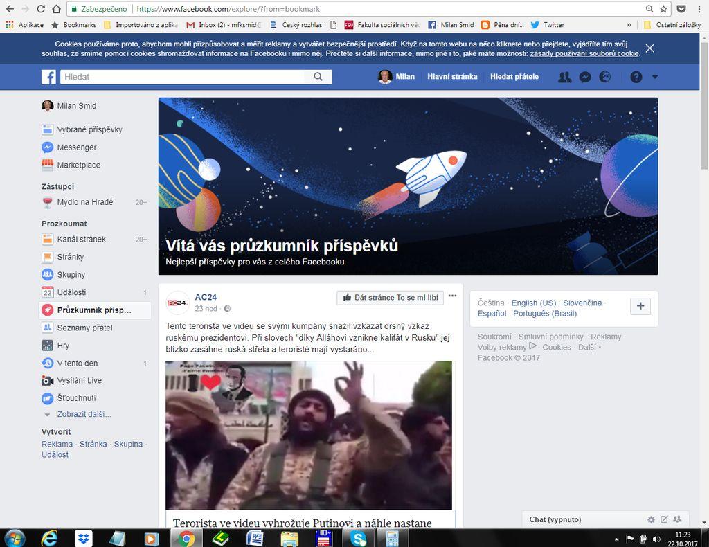 průzkumní příspěvků na Facebooku