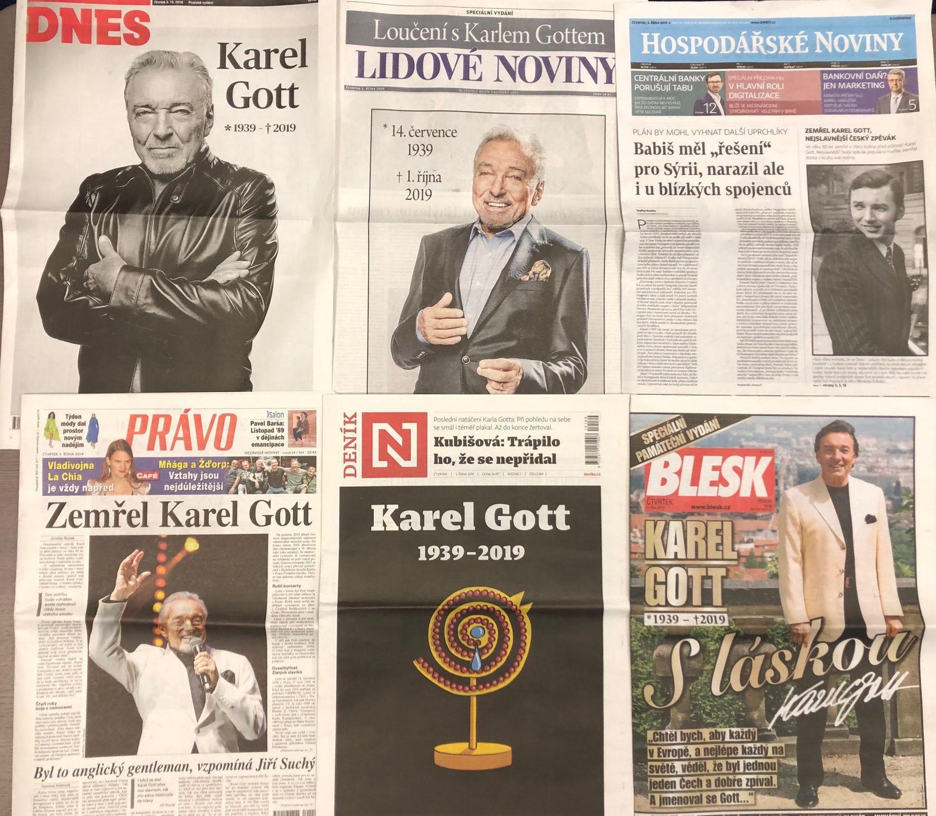 tituolní strany českých deníků 2. října 2019