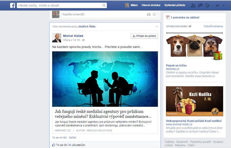 facebookový profil Michala Haška 6.12.2014