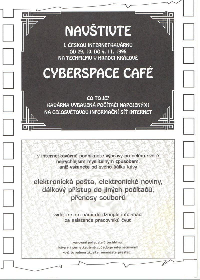 leták Internetové kavárny na Techfilm 1995