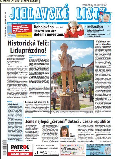 Jihlavské listy titulní strana sobota 7.8.2011