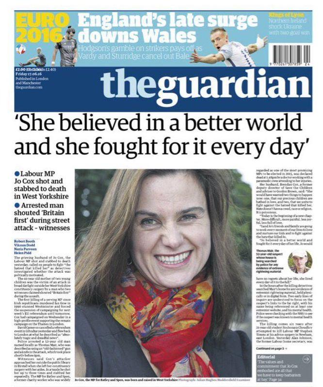 titulní stran Guardianu s citátem Jo Coxové