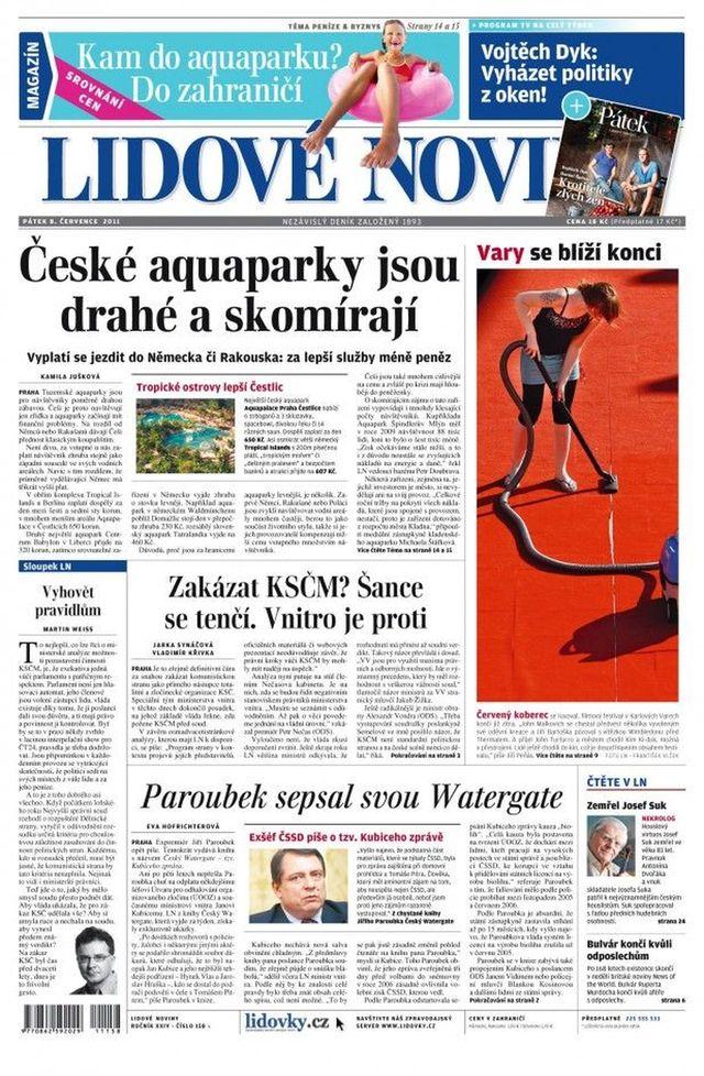 Lidové noviny titulní strana sobota 7.8.2011