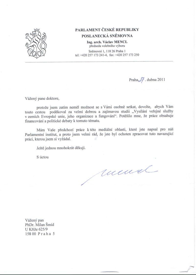 Děkovný dopis volebního výboru PSP