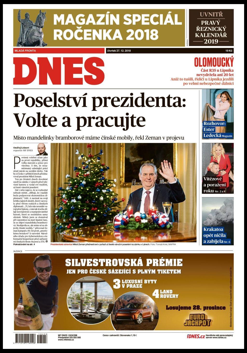 titulní strana MF Dnes 27.12.2018