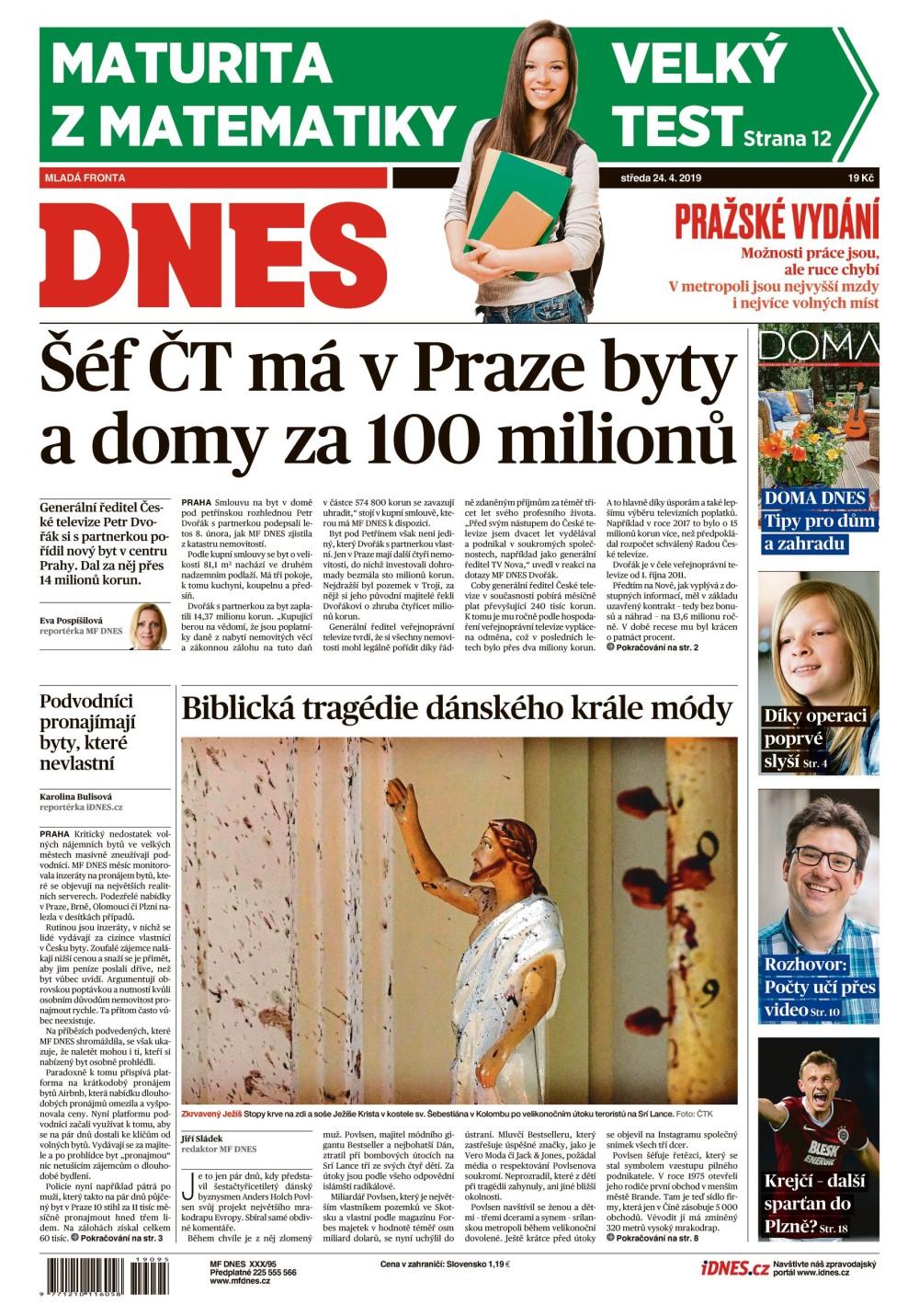 titulní strana MFDnes 24.4.2019