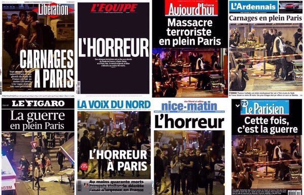 titulní strany francouzských médií 14.11.2015