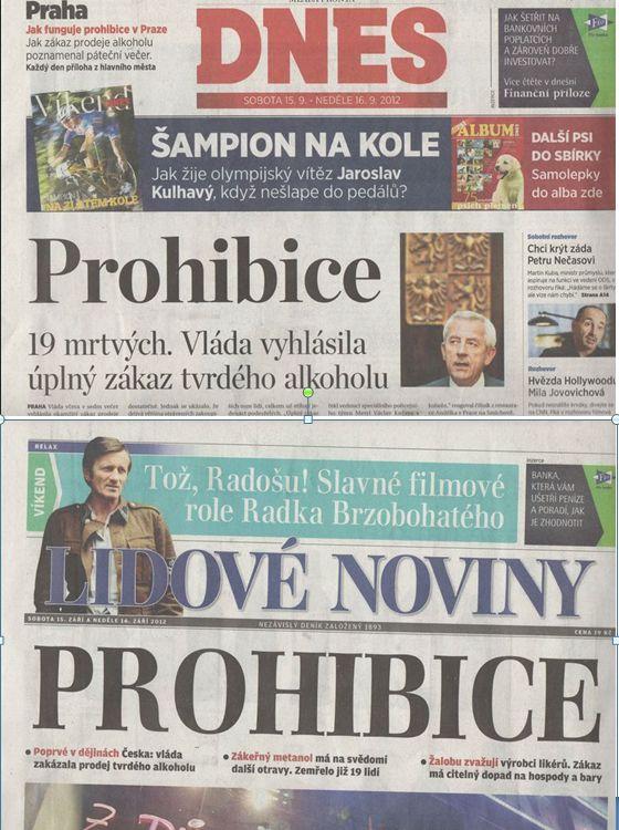 deníky MF Dnes a Lidové noviny sobota 15. září 2012