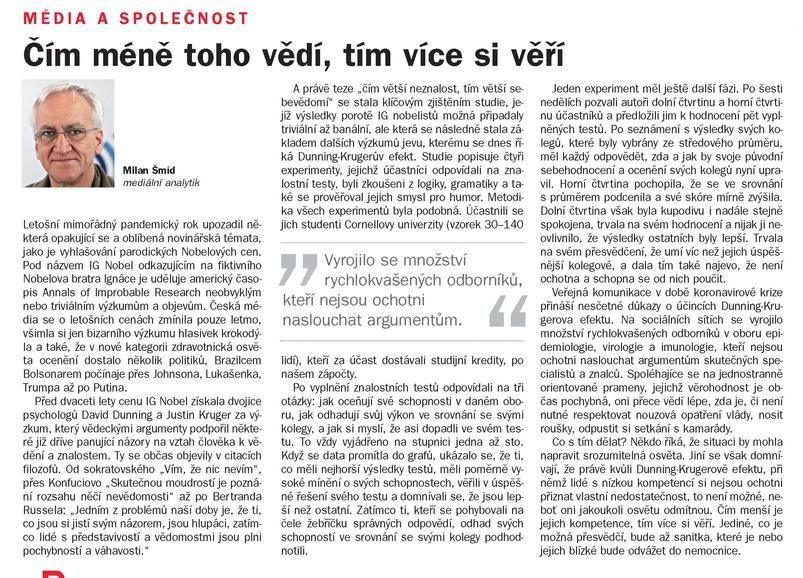 Média a společnost, Týdeník rozhlas 46/2020