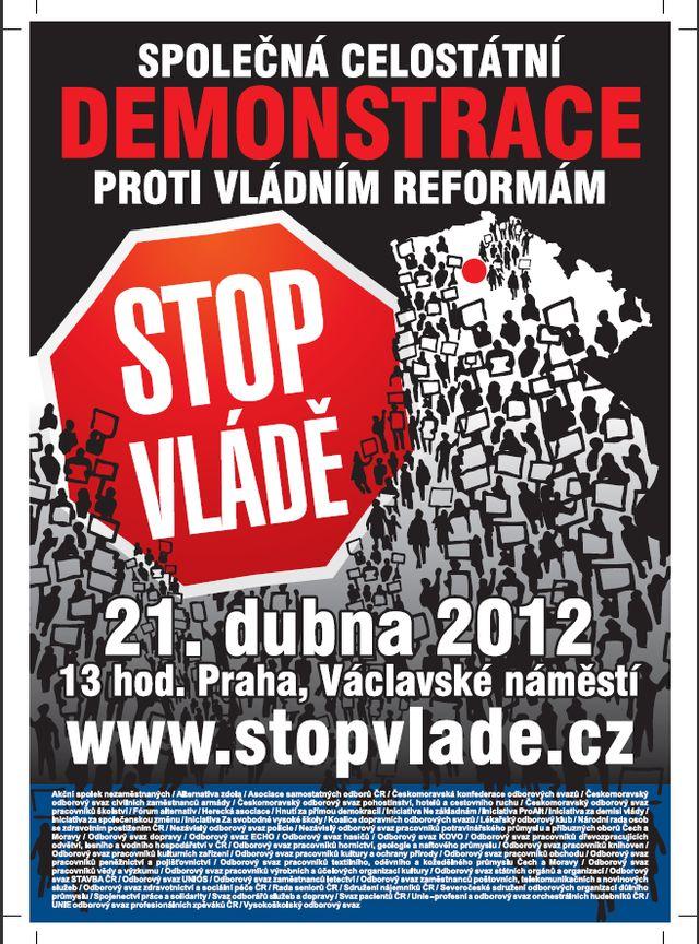 plakát demonstrace 21.4.2012