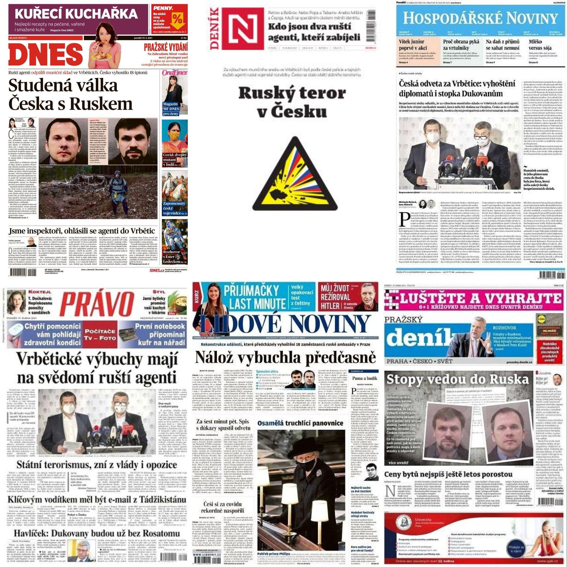 titulní strany deníků 19.4.2021