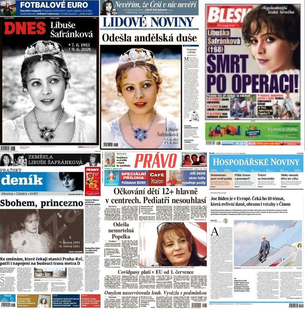 titulní strany deníků 10.6.2021
