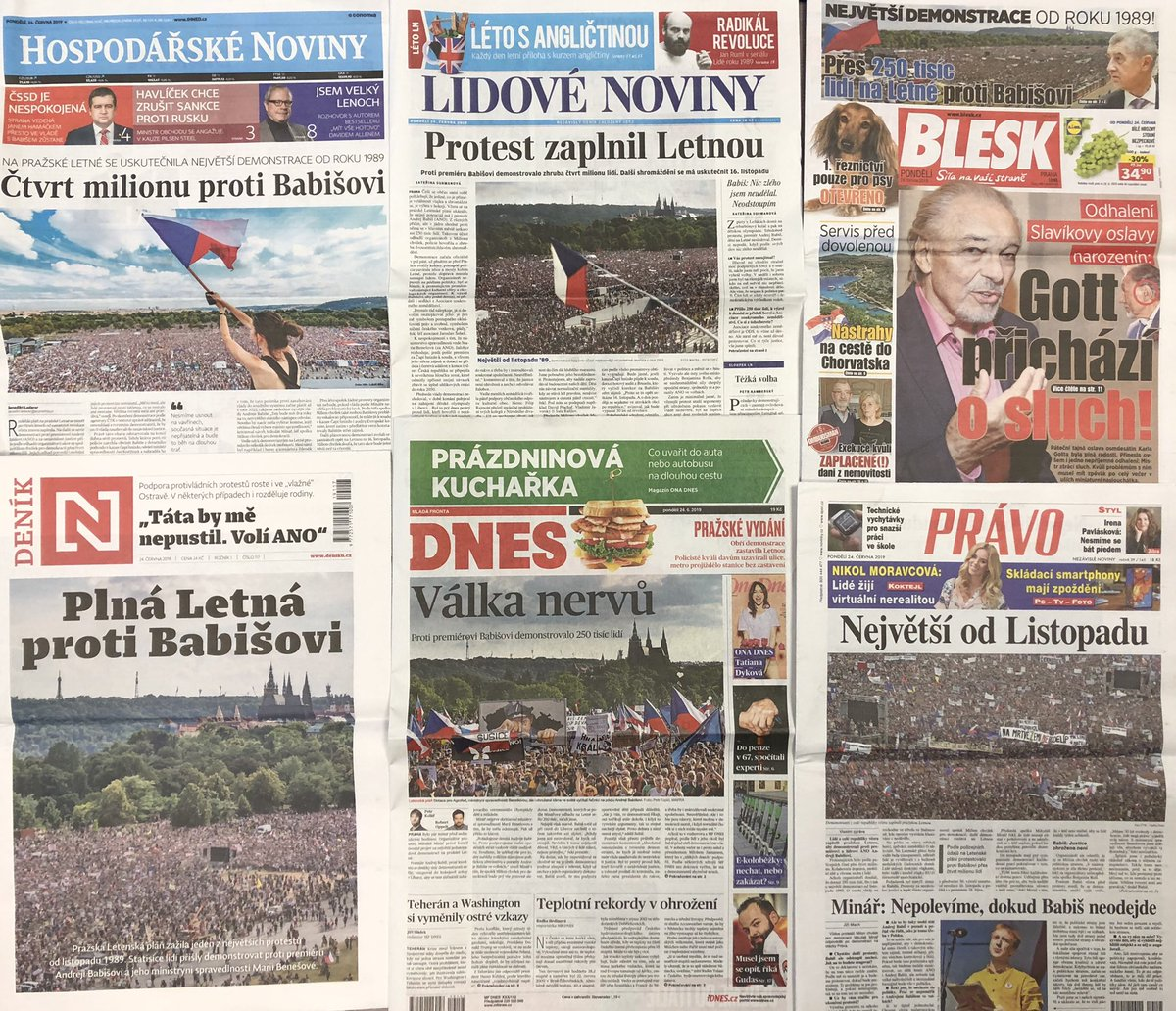 titulní strany deníků 24.6.2019