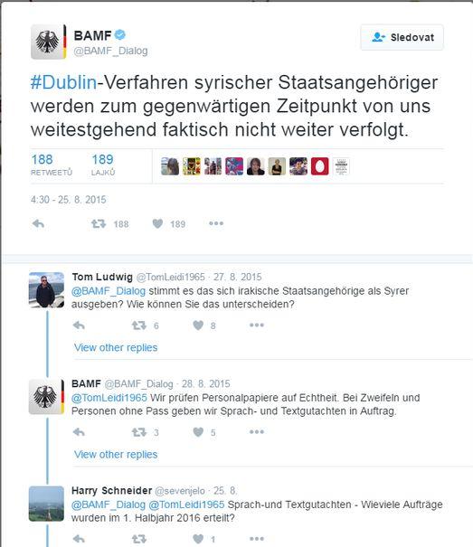 tweet Spolkového úřadu pro migraci a uprchlíky (BAMF)