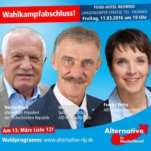 plakát předvolebníhoshromáždění AfD Neuwied