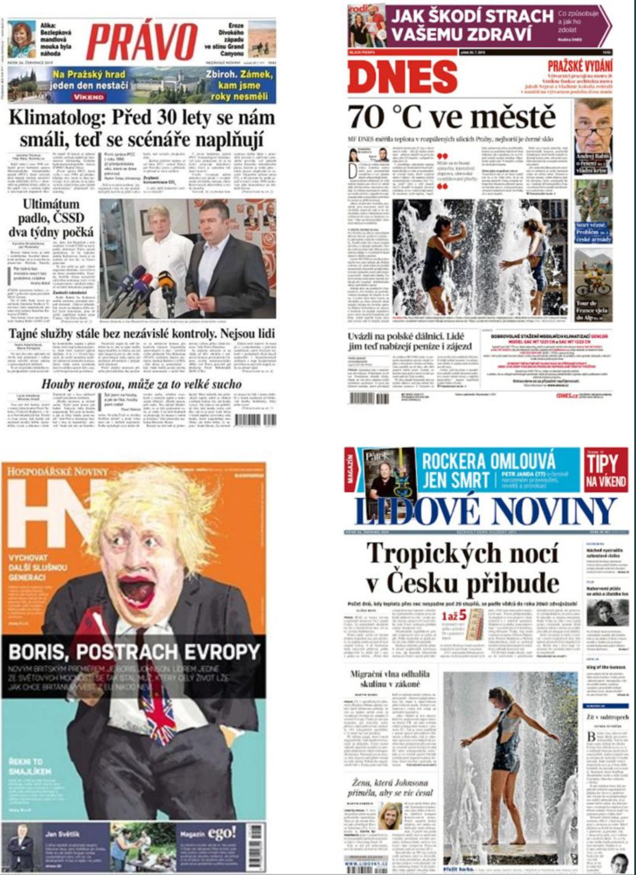 titulní strany deníků 26.7.2019