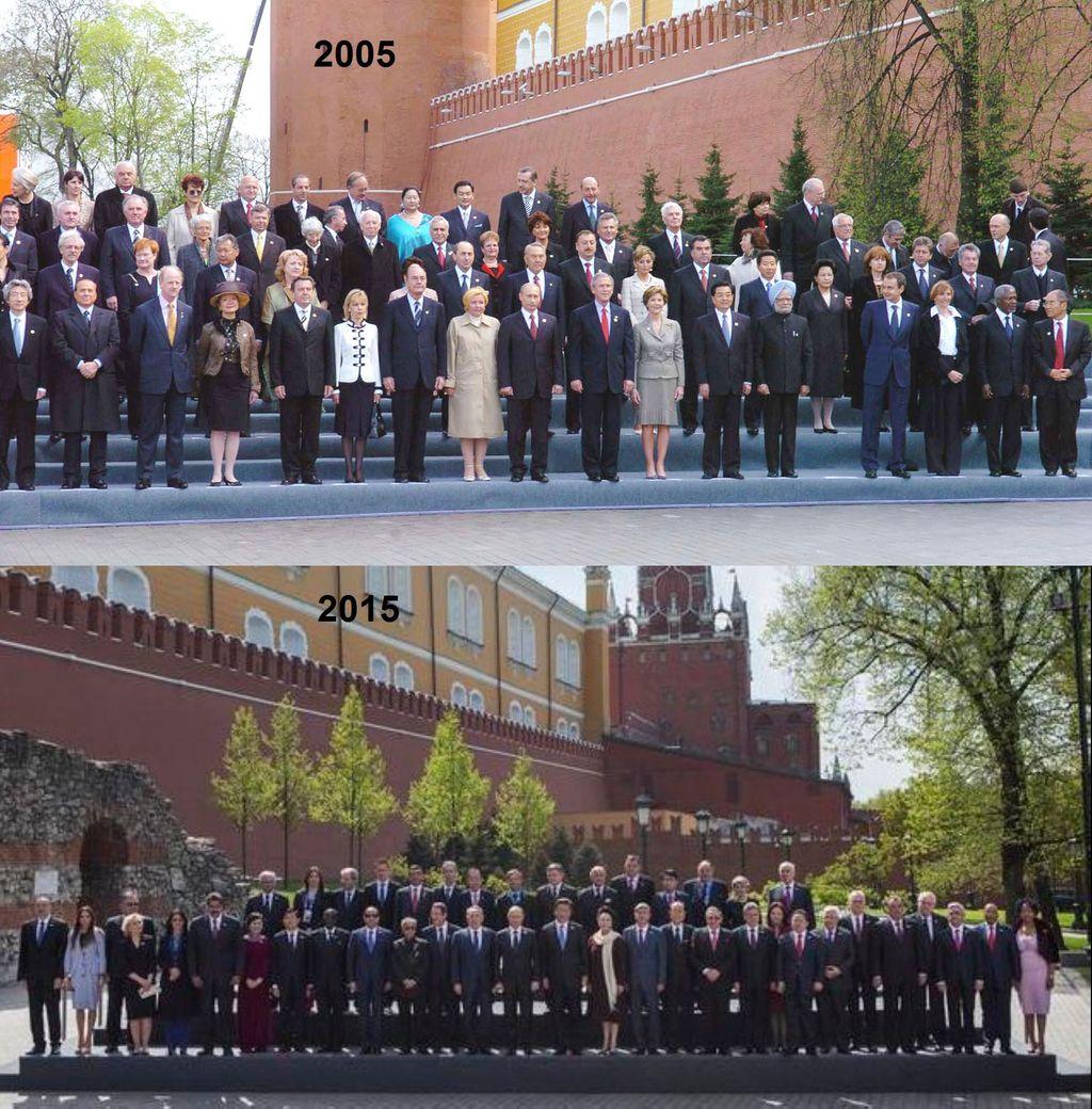 fota oslav výročí konce WWII v Moskvě - rok 2005 a 2015