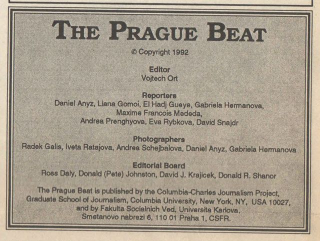 tiráž Prague Beat 1992