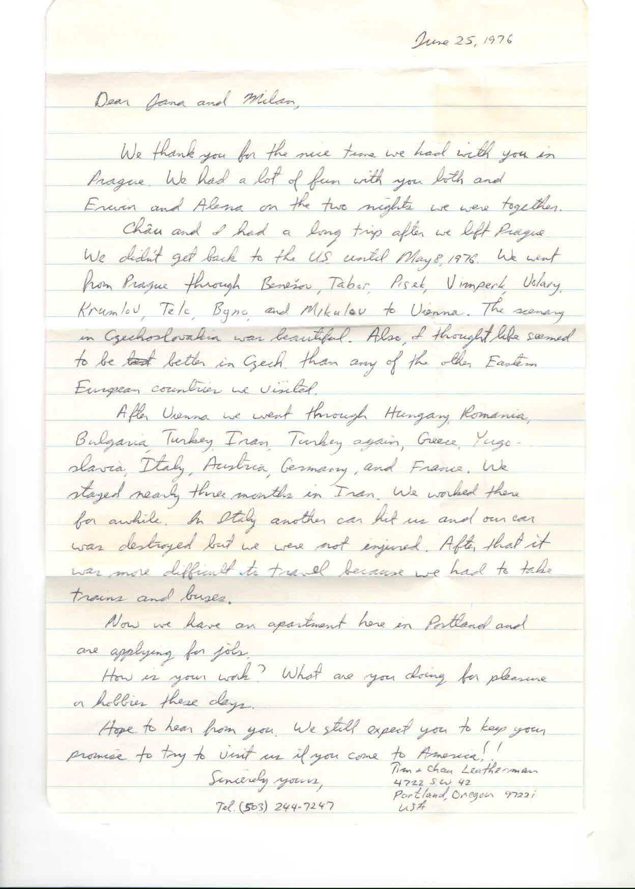 dopisu od Tima Leathermana