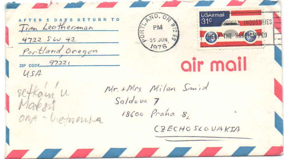 obálka dopisu od Tima Leathermana