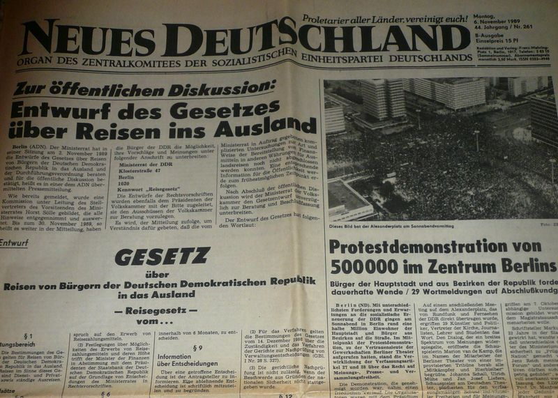 Neues Deutschland 6. listopadu 1989