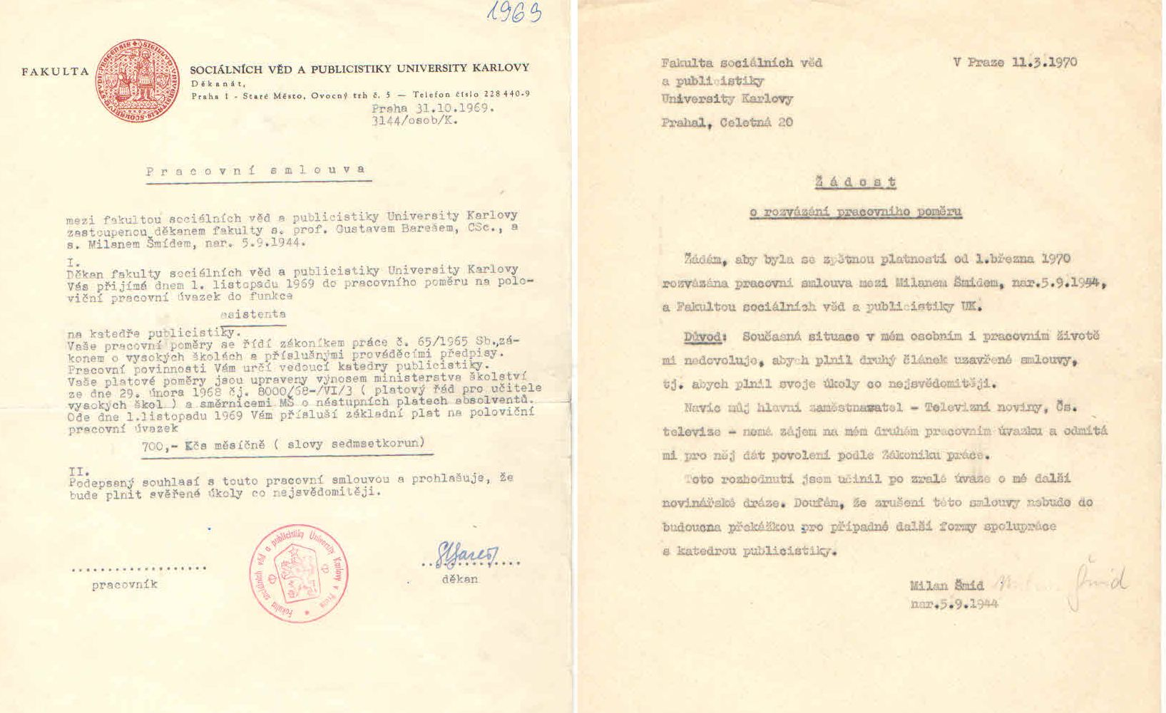 Smlouva FSV UK - asistent 1969-70