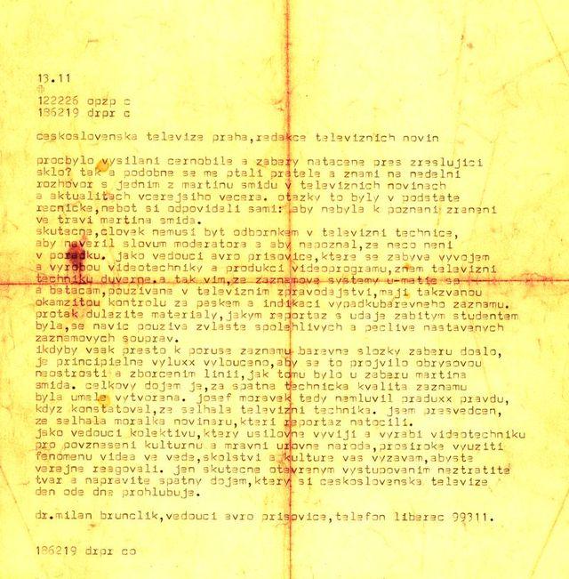 text dálnopisu zaslaného z AVRO Příšovice