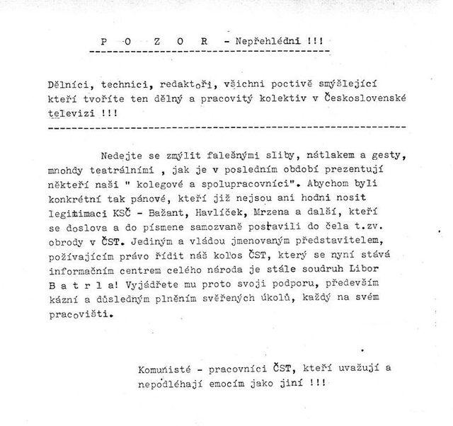Leták rozšiřovanýna Kavčíh horách v neděli 26.11.1989