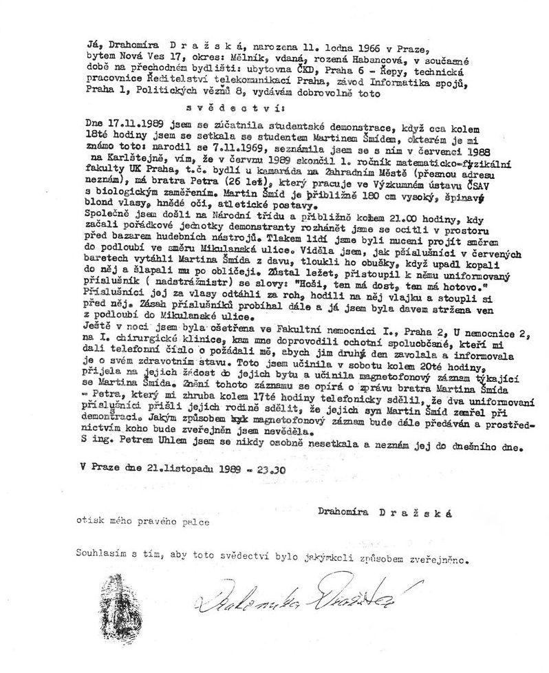 Prohlášení Dražské z 21.11.1989
