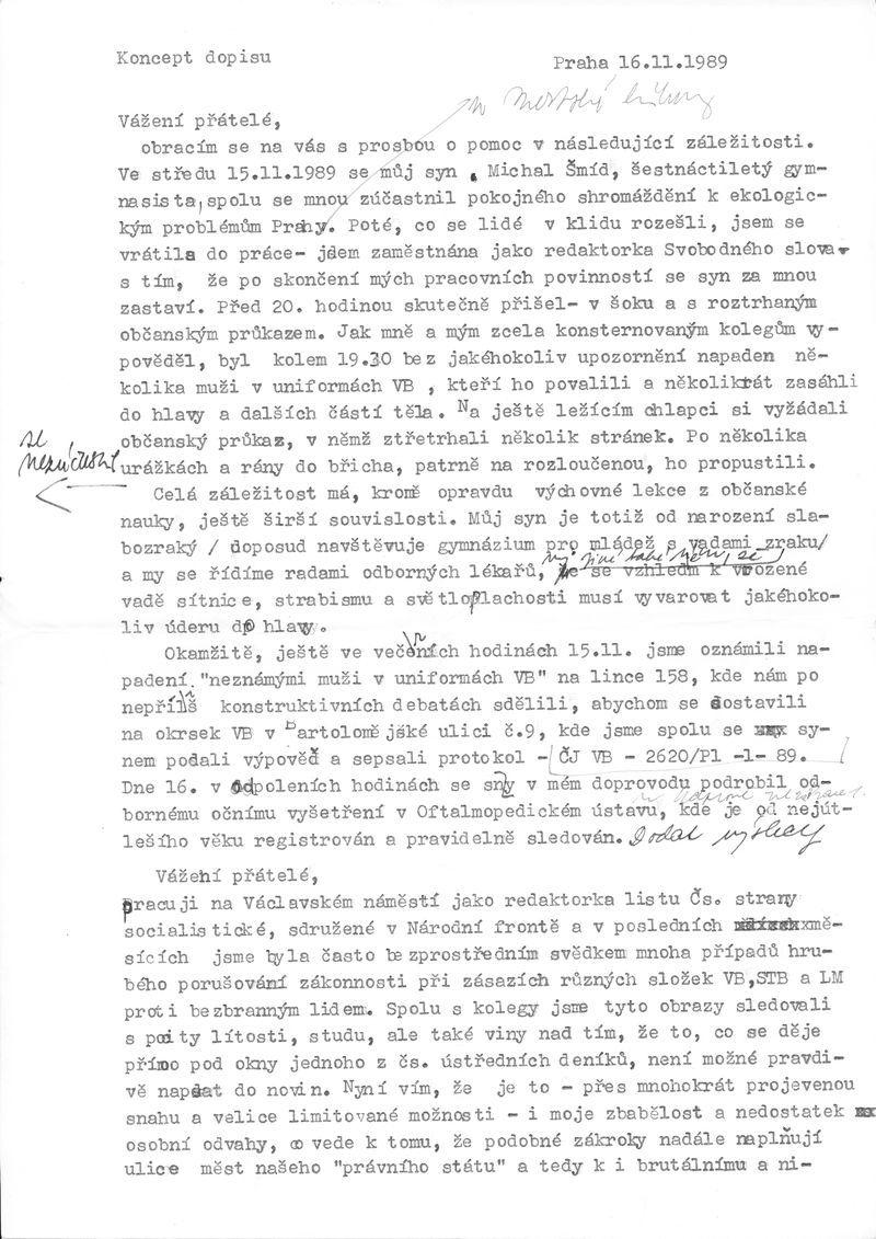 Koncept dopisu Jany Šmídové vedení ČSSS