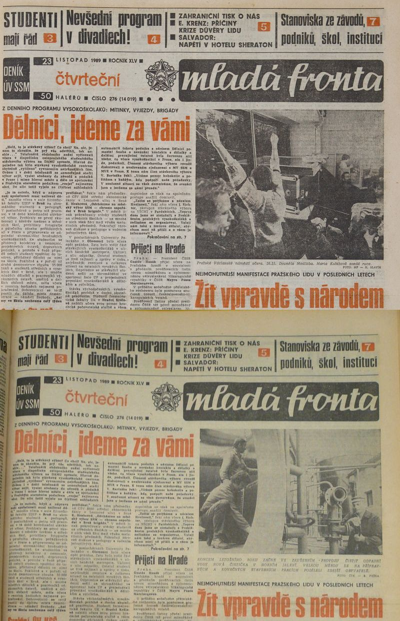 Mladá fronta, 23.11.1989, venkovské a pražské vydání