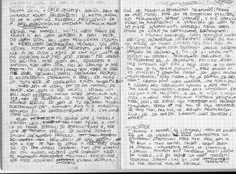 Michalův záznam události 15. listopadu 1989