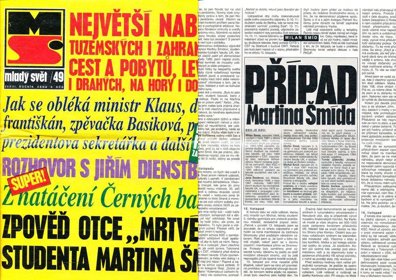 """Mladý svět 49/1991 – na obálce """"zpověď"""", uvnitř čísla """"případ"""""""