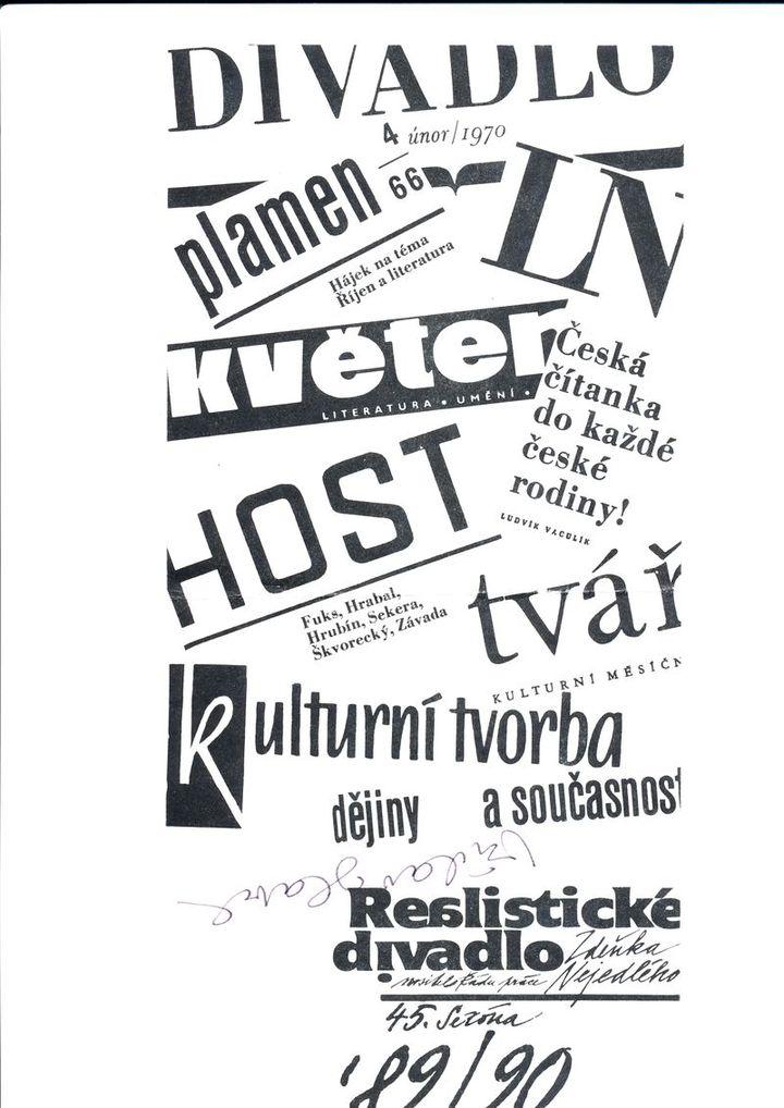 Program z Realistického divadla 18. listopadu 1989 podepsaný Václavem Havlem