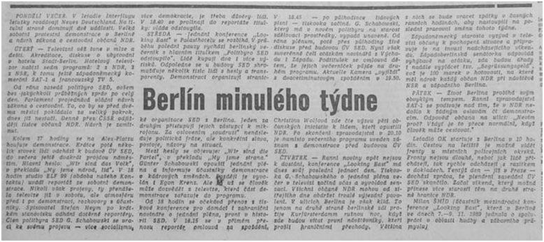 Článek ve Svobodném slově 13. listopadu 1989